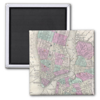 Vintage Map of NYC and Brooklyn (1866) 2 Inch Square Magnet