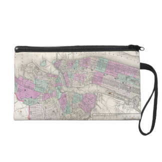 Vintage Map of NYC and Brooklyn 1866 Wristlet