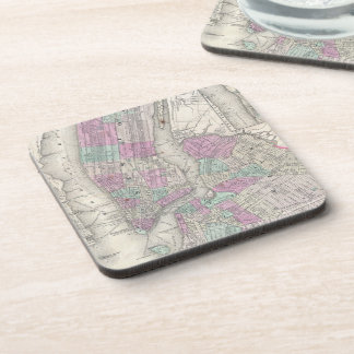 Vintage Map of NYC and Brooklyn (1866) Beverage Coaster