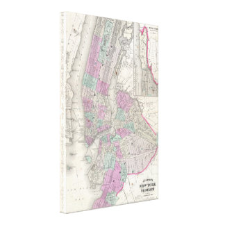 Vintage Map of NYC and Brooklyn (1866) Canvas Print