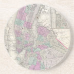 Vintage Map of NYC and Brooklyn (1866) Coasters