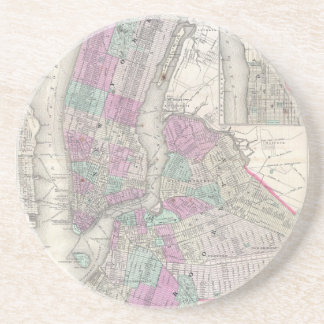 Vintage Map of NYC and Brooklyn (1866) Drink Coaster