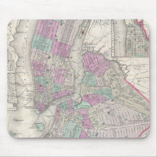 Vintage Map of NYC and Brooklyn (1866) Mouse Pad