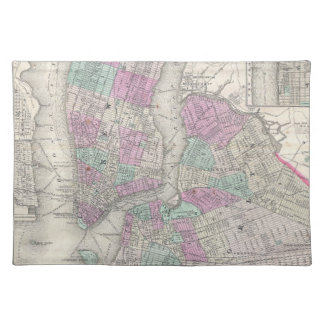 Vintage Map of NYC and Brooklyn 1866 Placemat