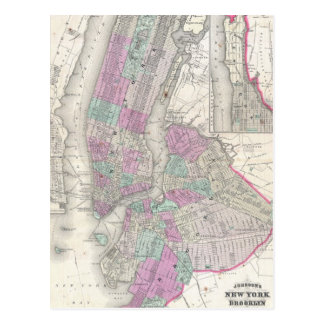 Vintage Map of NYC and Brooklyn (1866) Postcard