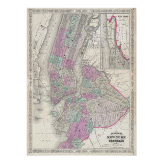 Vintage Map of NYC and Brooklyn (1866) Poster