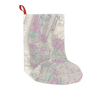 Vintage Map of NYC and Brooklyn (1866) Small Christmas Stocking