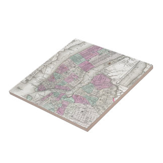 Vintage Map of NYC and Brooklyn (1866) Tiles