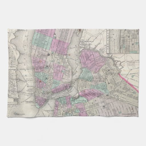 Vintage Map of NYC and Brooklyn (1866) Towel