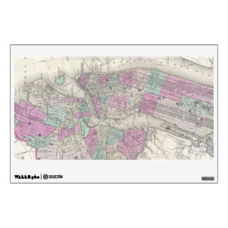 Vintage Map of NYC and Brooklyn (1866) Wall Sticker
