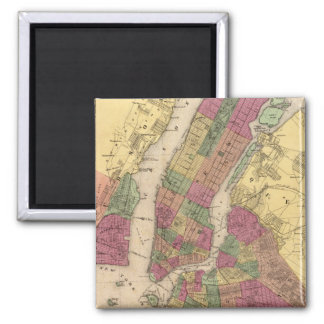 Vintage Map of NYC and Brooklyn (1868) 2 Inch Square Magnet