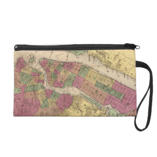 Vintage Map of NYC and Brooklyn 1868 Wristlet Purse
