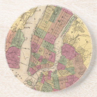 Vintage Map of NYC and Brooklyn (1868) Coaster