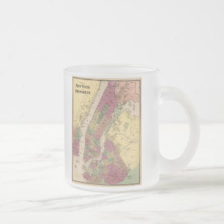 Vintage Map of NYC and Brooklyn (1868) Frosted Glass Coffee Mug