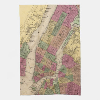 Vintage Map of NYC and Brooklyn (1868) Hand Towel