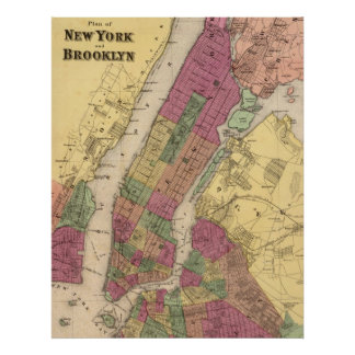 Vintage Map of NYC and Brooklyn (1868) Poster