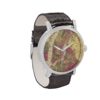 Vintage Map of NYC and Brooklyn (1868) Wrist Watch