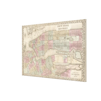 Vintage Map of NYC and Brooklyn (1882) Canvas Print