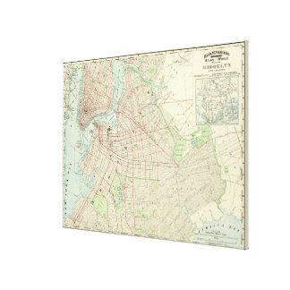 Vintage Map of NYC and Brooklyn (1897) Canvas Print