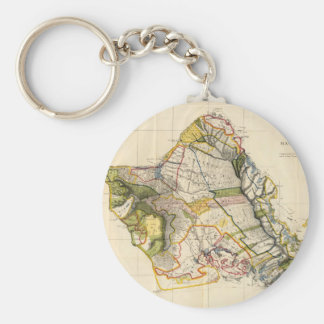 Vintage Map of Oahu Hawaii (1906) Basic Round Button Keychain