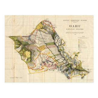 Vintage Map of Oahu Hawaii (1906) Postcard