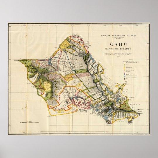 Vintage Map of Oahu Hawaii (1906) Poster