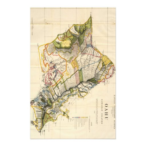 Vintage Map of Oahu Hawaii (1906) Stationery