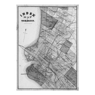Vintage Map of Oakland California (1878) BW Poster