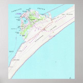 Vintage Map of Ocracoke North Carolina (1948) Poster