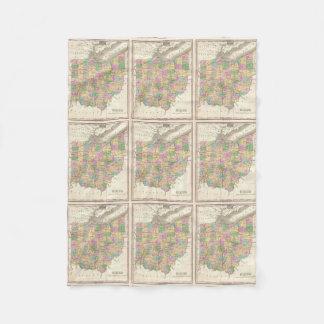 Vintage Map of Ohio (1827) Fleece Blanket