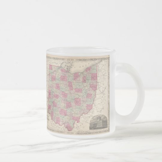 Vintage Map of Ohio (1864) Frosted Glass Coffee Mug