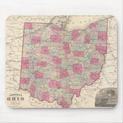 Vintage Map of Ohio (1864) Mouse Pad