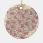 Vintage Map of Ohio (1864) Double-Sided Ceramic Round Christmas Ornament