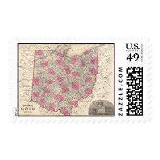 Vintage Map of Ohio (1864) Postage