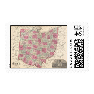 Vintage Map of Ohio 1864 Stamps