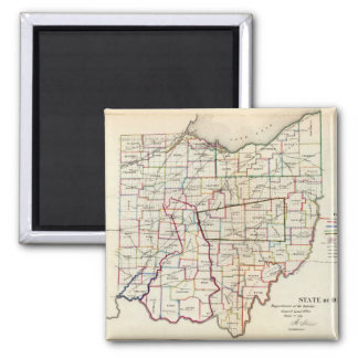 Vintage Map of Ohio (1866) 2 Inch Square Magnet