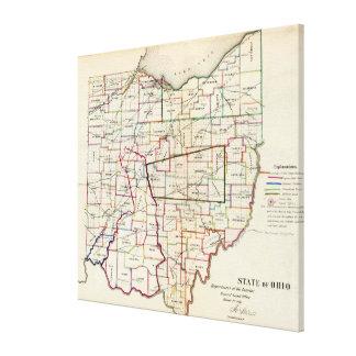 Vintage Map of Ohio (1866) Canvas Print