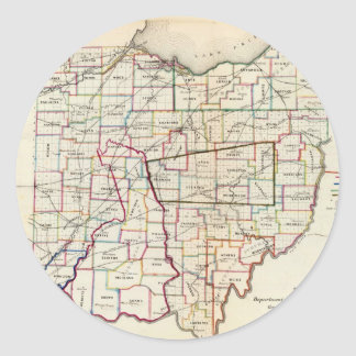 Vintage Map of Ohio (1866) Classic Round Sticker