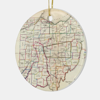 Vintage Map of Ohio (1866) Double-Sided Ceramic Round Christmas Ornament