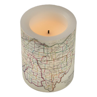 Vintage Map of Ohio (1866) Flameless Candle