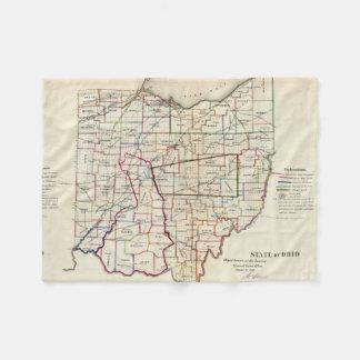 Vintage Map of Ohio (1866) Fleece Blanket