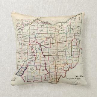 Vintage Map of Ohio (1866) Pillows