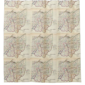 Vintage Map of Ohio (1866) Shower Curtain