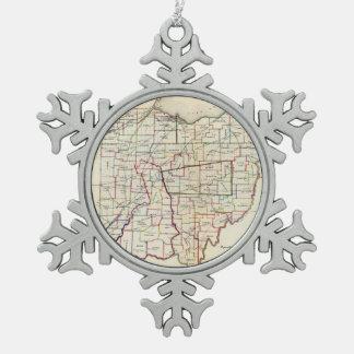 Vintage Map of Ohio (1866) Snowflake Pewter Christmas Ornament