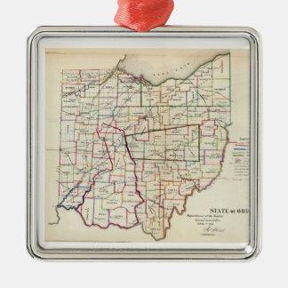 Vintage Map of Ohio (1866) Square Metal Christmas Ornament