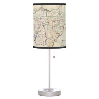Vintage Map of Ohio (1866) Table Lamps