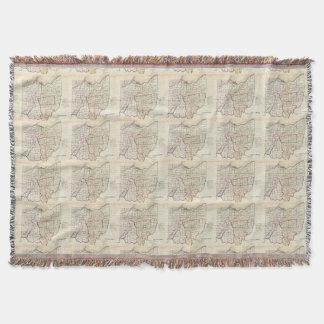 Vintage Map of Ohio (1866) Throw Blanket