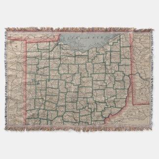 Vintage Map of Ohio (1883) Throw Blanket