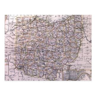 Vintage Map of Ohio (1884) Postcard