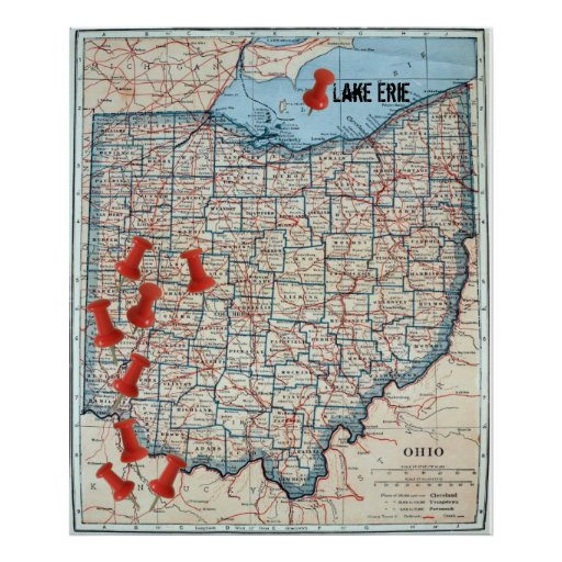 Vintage Map of Ohio (1921) Customizable Map Marker Poster